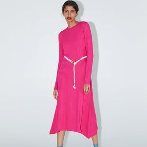 ZARA LONG BELTED DRESS NWT  FUCHSIA - 5584/153
